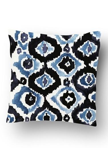 Lyn Home & Decor Mavi Siyah Desenler Yastık Kılıfı Renkli